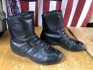 Alpinestars Black Leather Ridge Waterproof Motorcycle Boots Mens 12 used 45.5