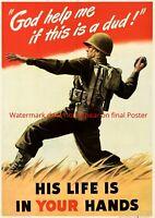 God Help Me Poster WWII WW2 hand grenade US Army soldier propaganda Print Art