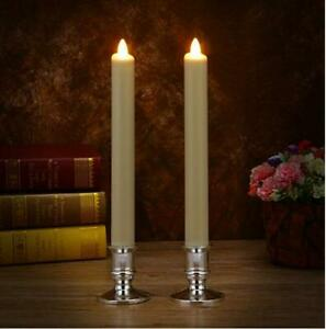 Luminara Ivory Unscented Wax Flameless Taper Candles Moving Wick Set of 2