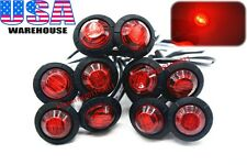 "10PCS 3/4"" Marker Lights Triple Diode LED Truck Trailer Clearance Indicator Red"