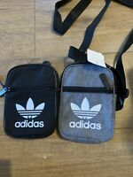 Adidas Festival Mini Bags X2 Trefoil  Organizer Cargo Unisex Mens Black / Grey