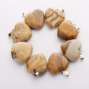 12pcs Natural Picture Stone Heart Pendant Bead for Jewelry Making 20mm
