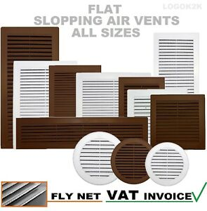 Air Vent Grille with Anti-Insect Mesh / Fly Screen and Screw Covers White Brown