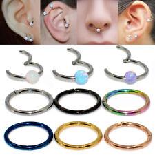 1x Titanium Opal Septum Clicker Nose Ring Labret Piercing Tragus Cartilage Helix