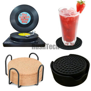 Silicone / Cork Drink Coasters with Holder Absorbent Non-Slip Cup Mat Pad Decor