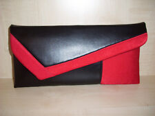 RED & BLACK asymmetrical colour block faux leather clutch bag. Handmade in UK