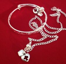 """Ster Sil 16""""Chain+ Heart&cross Charm&925 Bangle +Matching Charms/in A Box."""