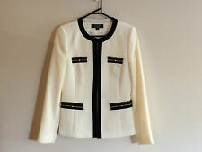 Tahari Womens Blazer Jacket Cream and Black with gold chains size 6 Aust NWOT
