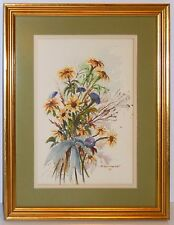 Mid Century Floral Bouquet Watercolor Painting Gold Gilt Custom Frame
