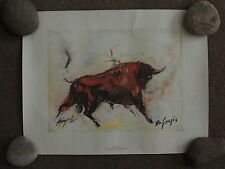 Ted De Grazia Red Bull 17x21 inch Print Hand Signed  in 1977