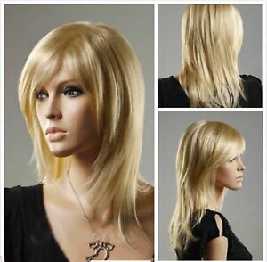 2018 Fashion Women lady Long Straight Blonde Cosplay party lady's wigs + wig cap