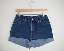 Vintage LEVI'S Dark Blue Wash High Waisted Rise Cut Offs Cuffed Denim Shorts 29