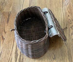 Vintage Fishing Creel Antique Trout Fishing Basket, Wicker w/Handle
