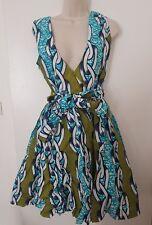 African Print V-Neck Cocktail Dress UK14, FREE UK DELIVERY