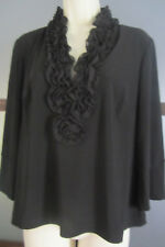 ADRIANNA PAPELL EVENING ESSENTIALS TOP Black Large Long Sleeve Lined V Neck