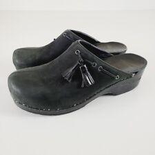 Dansko Women's Black Shannon Nubuck Leather Tassel Mule Clogs Shoes Size 42 / 11