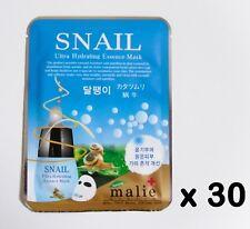Korea Cosmeitcs 30pcs [Malie] Snail Ultra Hydrating Essence Mask 25g Skin Care