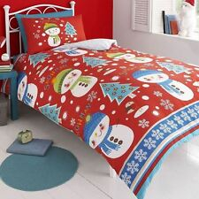 CHRISTMAS SNOWMAN 100% BRUSHED COTTON DUVET COVER SET NEW XMAS