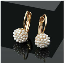 nGOLD PLATED PEARL DROP DANGLE LEVERBACK EARRINGS