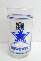 Dallas Cowboys Drinking Glass Tumbler NFL Mobil Oil Football  vintage 1970s