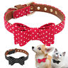 Cute Polka Dot Pet Cat Dog Collar Adjustable PU Leather Dog Bow Tie Collars