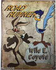 ROADRUNNER/WILE E COYOTE/ LOONEY TUNES;ANTIQUE-STYLE METAL WALL SIGN 40X30cm
