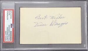 Vince DiMaggio Signed Index Card Baseball Autograph Joe DiMaggio Brother PSA/DNA