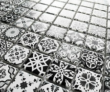 Black & White Moroccan Style Ceramic Square Mosaic Tiles 6mm Turkish Geometric