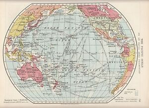 1923 MAP ~ PACIFIC OCEAN ~ EQUAL AREA PROJECTION ~ TRADE ROUTES SUBMARINE CABLES