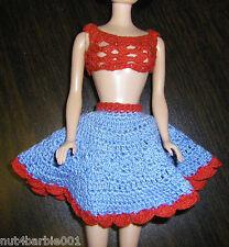 Vintage Barbie Bild Lilli Sindy Sz Red Blue Crochet Skirt Crop Top Blouse Shirt