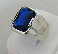 Men's Ring 925 Sterling Silver Turkish Handmade Jewelry Sapphire Stone All Size