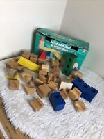 Vintage Bright Futures Build And Roll Wooden Marble Game Blocks Building