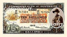 SET OF 4 ANZAC GALLIPOLI 1915  NOVELTY BANK NOTES 10s 1 5 10 POUND  pre decimal