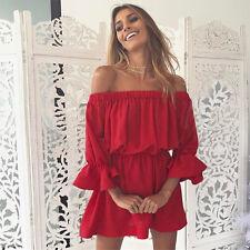 Womens Off Shoulder Boho Shirt Dress Ladies Ruffle Beach Romper Summer Frill Top