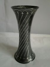 Nice Persian? Small Black / Gray Vase with Silver Inlay