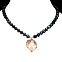 Handmade Baroque White Pearl 20x17mm 925 Sterling Silver Necklace 17 Inches