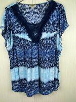 One World Womens 2X Blue Print Top Fringe Embellished Neckline Flutter Sleeves