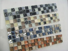 Glass & Marble Mosaic Border Tiles - Cube Design - 4 Colours, Various Pack Sizes