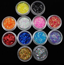 12Pcs Sparkly Sequin Confetti Glitter Acrylic Nail Art Sticker UV Gel Deco tips