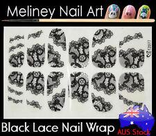 TZ077 Black Lace Nail Art Wraps Full Cover Stickers Flower Floral Transparent