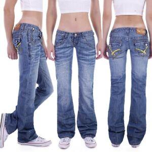Damen Flared Schlaghose Schlagjeans Bootcut Hose Hüftjeans Hellblau Jeans H49