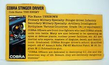 GI JOE STINGER DRIVER FILE CARD Vintage Action Figure GOOD SHAPE 1984