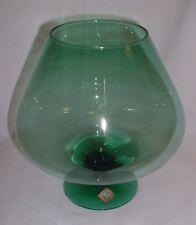 Vintage Riekes Crisa Hand Blown Crystal Green Brandy Snifter Vase Centerpiece