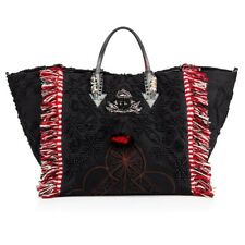 CHRISTIAN LOUBOUTIN 1990$ PORTUGABA Large Tote Bag In Black Portugaba Fabric