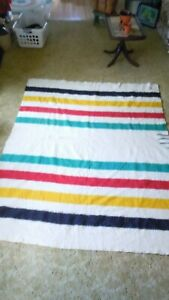 Antique Hudson's Bay 3 1/2 Point Wool Blanket 63 x 81 Trappers Candy Stripe Twin