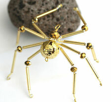 Beaded Golden Spider - Ornament / Christmas Tree Decoration