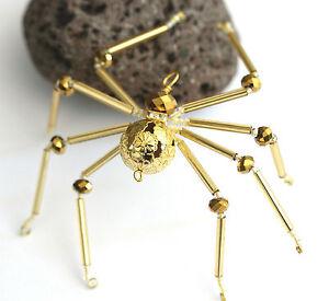 Beaded Golden Spider - Ornament / Christmas Tree Decoration