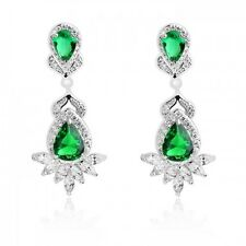 GORGEOUS 18K WHITE GOLD PLATED GENUINE EMERALD CUBIC ZIRCONIA DANGLE EARRINGS