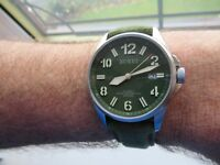 BUREI MILITARY AUTOMATIC & HAND WIND WITH SEIKO 24 JEWELS 42MM  BOXED  XMAS GIFT