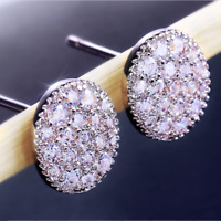 Luxury 925 Silver White Sapphire Oval Stud Earrings Shiny Ladies Wedding Jewelry